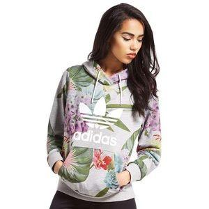 Adidas Floral Gray Hoodie